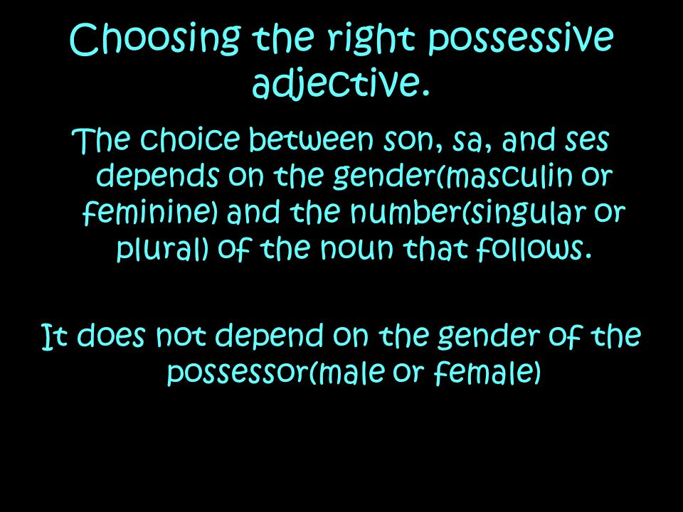 Choosing the right possessive adjective.