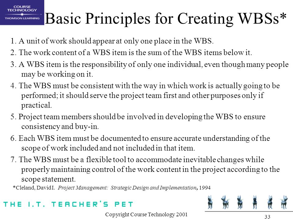 Basic Principles for Creating WBSs*