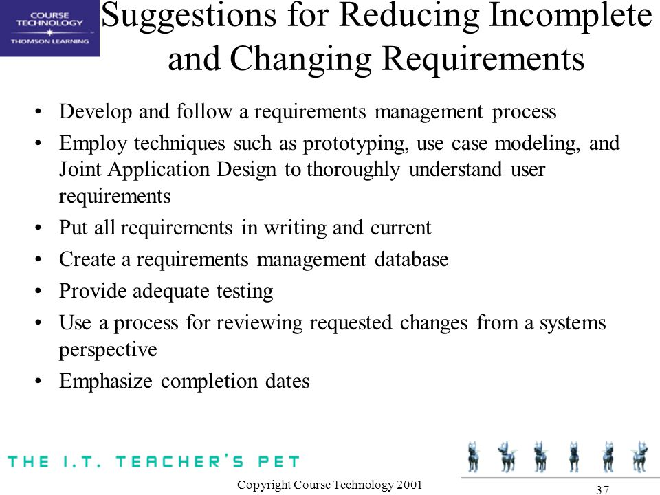Suggestions for Reducing Incomplete and Changing Requirements