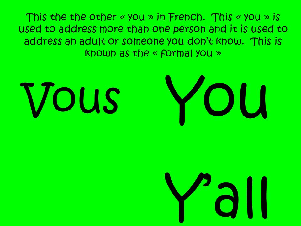 This the the other « you » in French