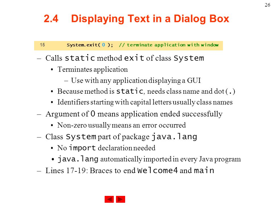 2.4 Displaying Text in a Dialog Box