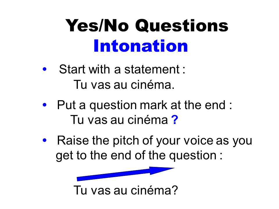 Yes/No Questions Intonation • Start with a statement :