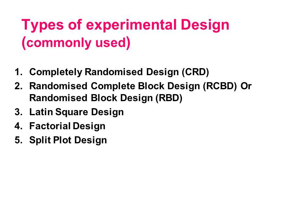 types of experimental design pdf