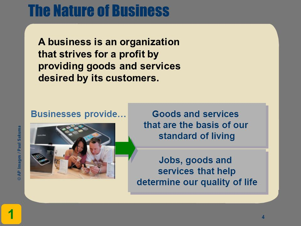 The Nature of Business 1 A business is an organization