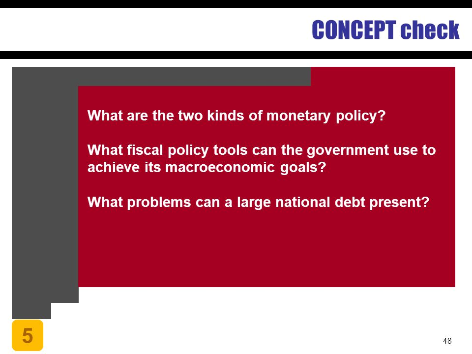 CONCEPT check 5 What are the two kinds of monetary policy