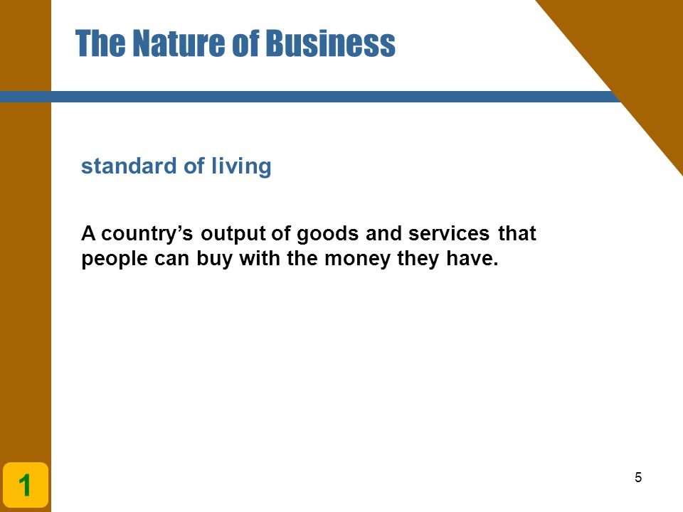 The Nature of Business 1 standard of living