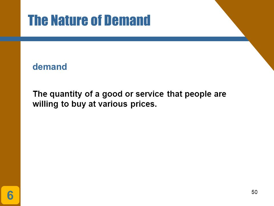 The Nature of Demand 6 demand