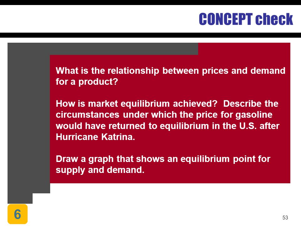 CONCEPT check Chapter 1. Understanding Economic Systems and Business. What is the relationship between prices and demand for a product