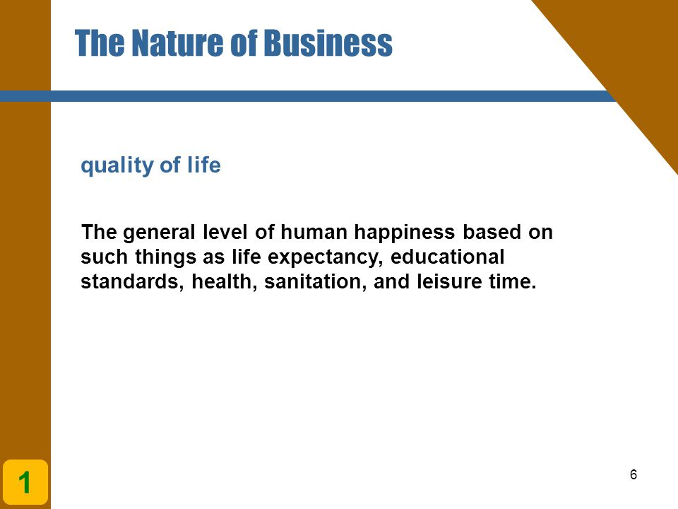 The Nature of Business 1 quality of life
