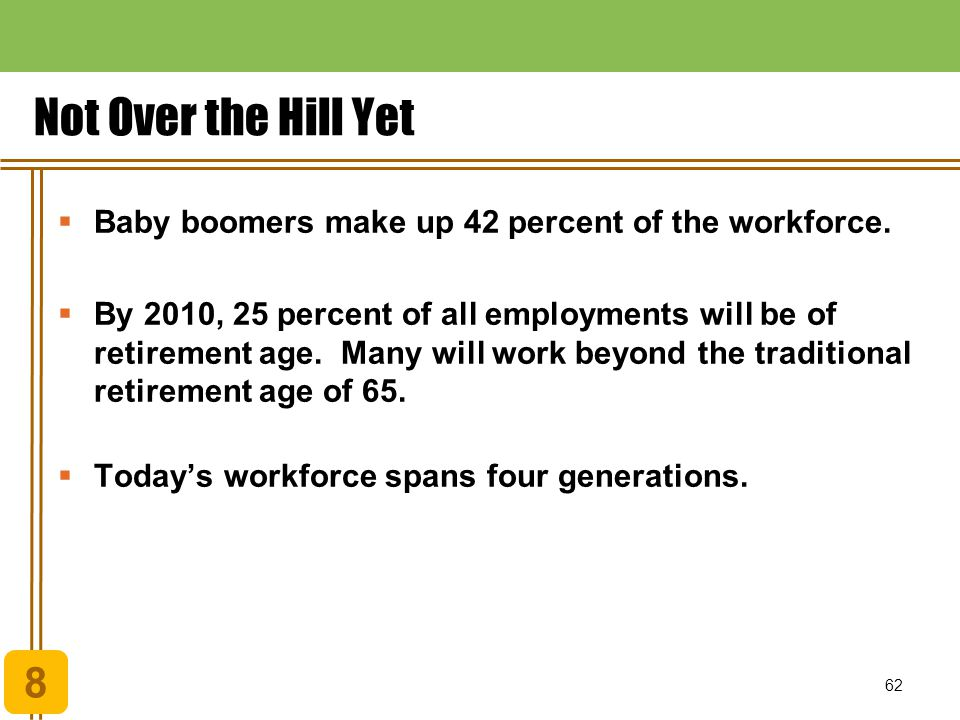 Chapter 1 Understanding Economic Systems and Business. Not Over the Hill Yet. Baby boomers make up 42 percent of the workforce.