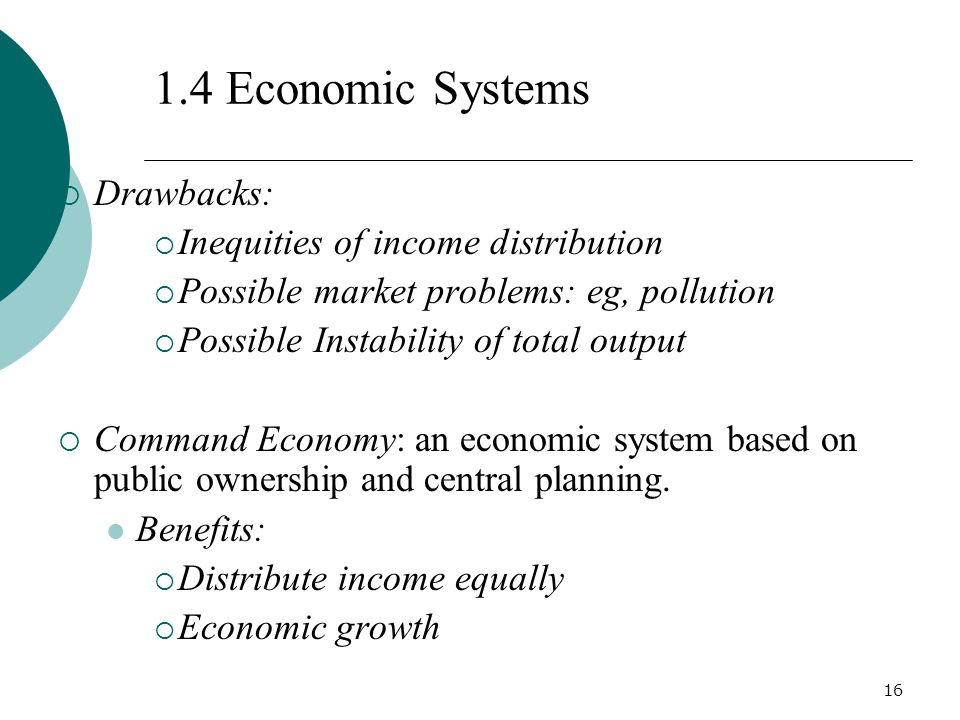 1.4 Economic Systems Drawbacks: Inequities of income distribution