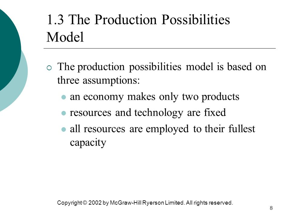 1.3 The Production Possibilities Model