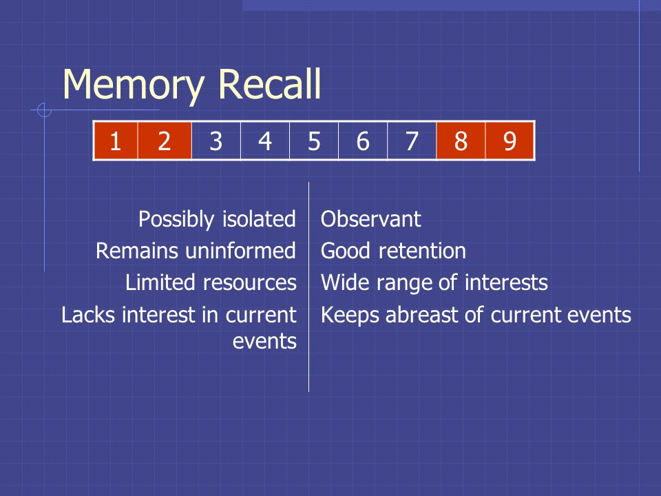 Memory Recall 1 2 3 4 5 6 7 8 9 Possibly isolated Remains uninformed