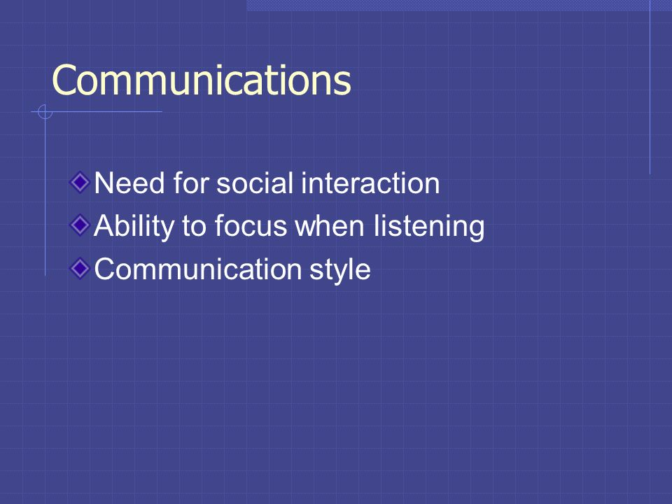 Communications Need for social interaction