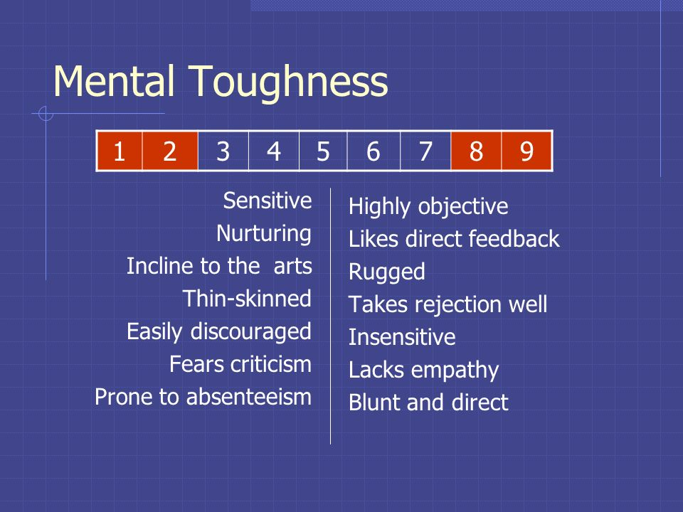 Mental Toughness 1 2 3 4 5 6 7 8 9 Sensitive Highly objective