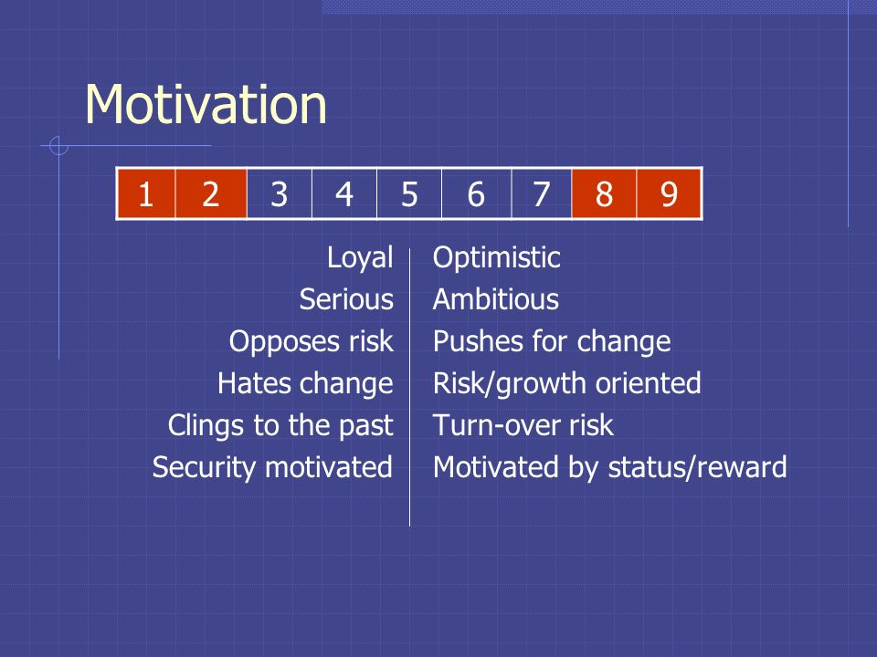 Motivation 1 2 3 4 5 6 7 8 9 Loyal Serious Opposes risk Hates change