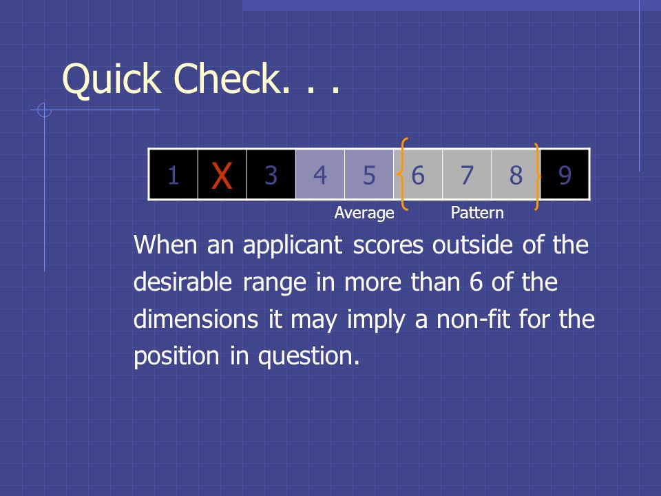 Quick Check. . . X When an applicant scores outside of the