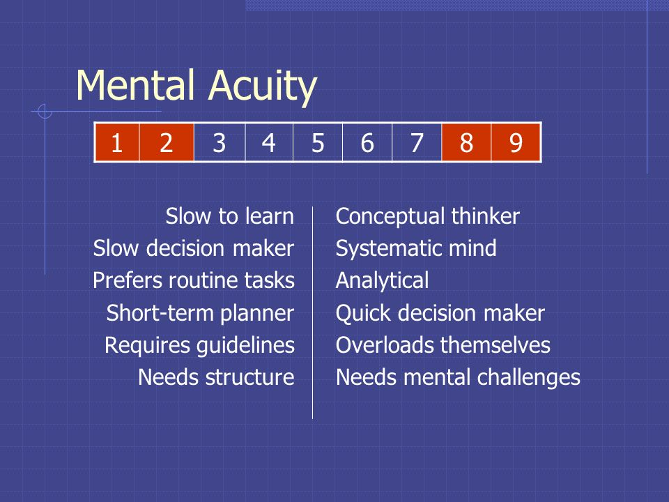 Mental Acuity 1 2 3 4 5 6 7 8 9 Slow to learn Slow decision maker