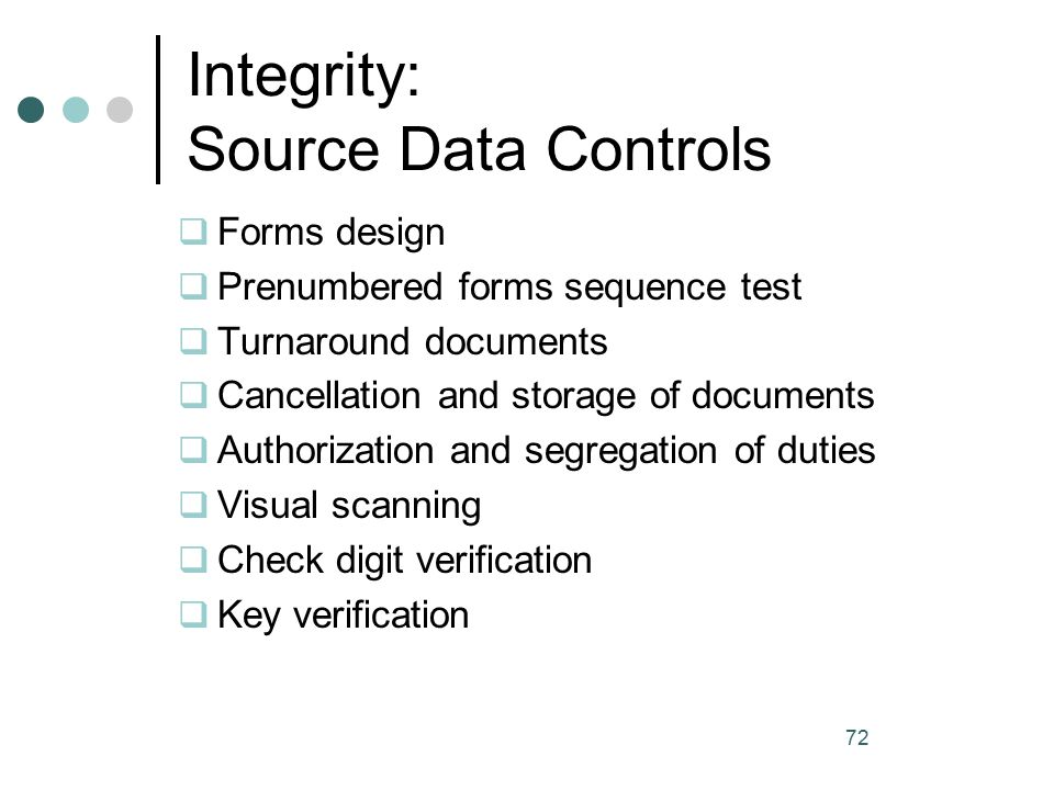 input integrity controls Information security management aims to ensure the confidentiality, integrity and availability of an organization's information, data and it services itil security management usually forms part of an organizational approach to security management which has a wider scope than the it service provider.