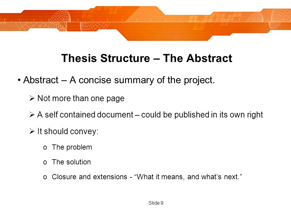 Thesis structure abstract acknowledgements