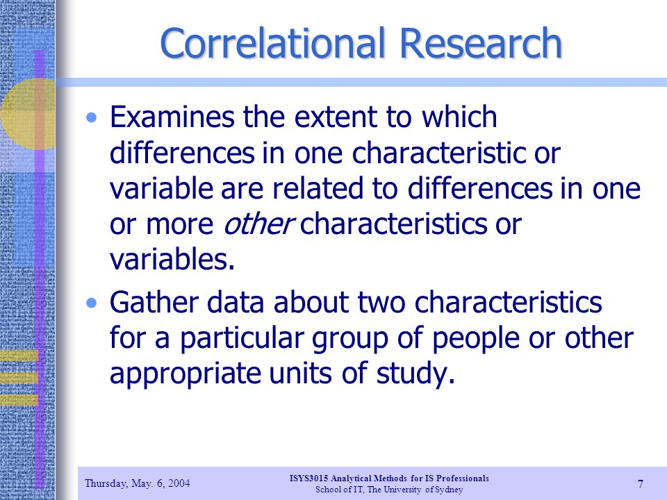 Correlational research types of correlational research
