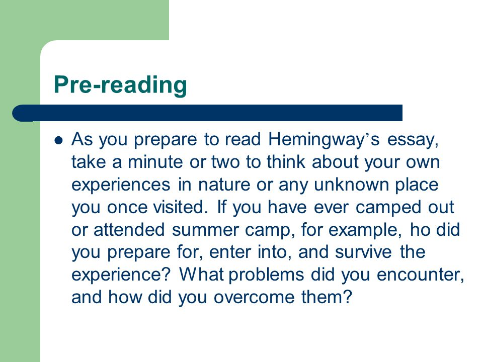 essays by ernest hemingway A careful examination of the short story indian camp by ernest hemingway reveals the usage of such literary devices as plot and theme to deliver both the unfolding story and the meaning behind it.