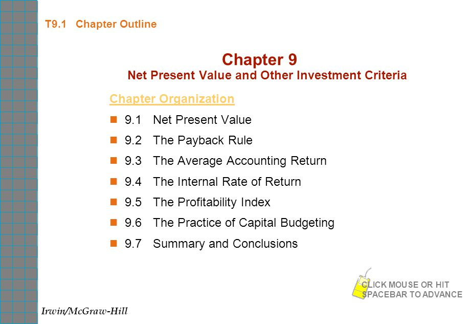 net present value and other investment Net present value(npv) is a formula used to determine the present value of an investment by the discounted sum of all cash flows received from the project.