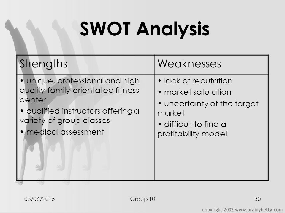 swot analysis fitness center Essay swot analysis: the fitness center industry swot analysis: fitness centers industry courtney albertson phl/320 30 march 2015 matthew hazlett swot analysis: fitness center industry it today's society, going to the gym has become a normal phrase heard around the world however.