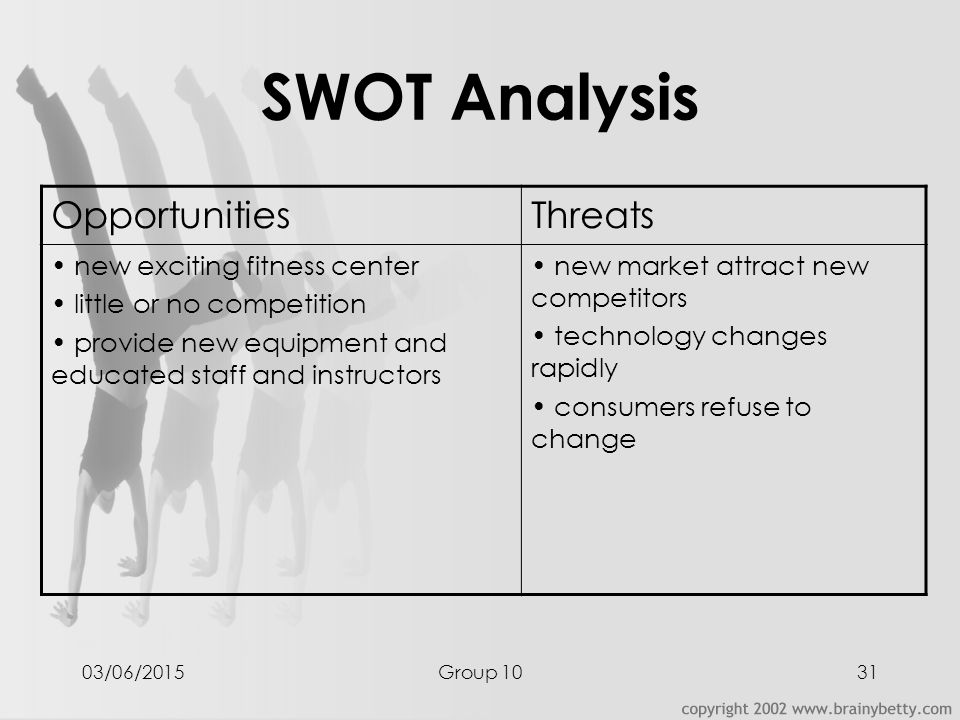 swot analysis fitness center After the swot analysis  information from the swot was useful in that the community tool box is a service of the center for community health and.