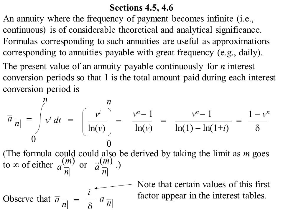 Sections 4 5 4 6 an annuity where the frequency of for Table 6 4 present value