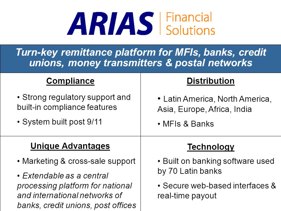 Turn-key remittance platform for MFIs, banks, credit unions, money transmitters & postal networks