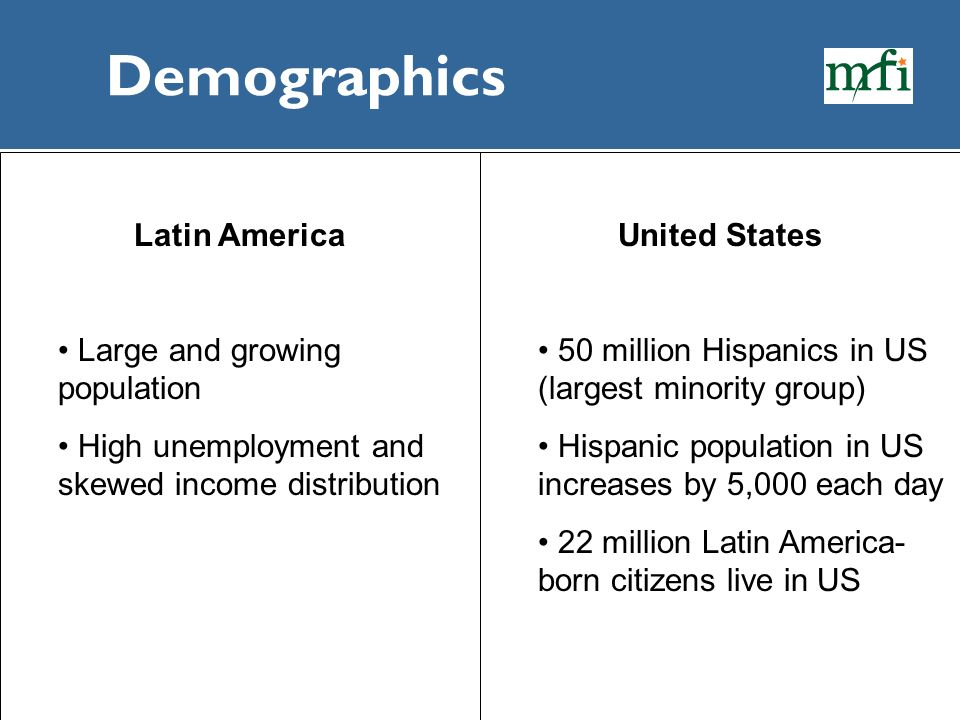 Demographics Latin America Large and growing population
