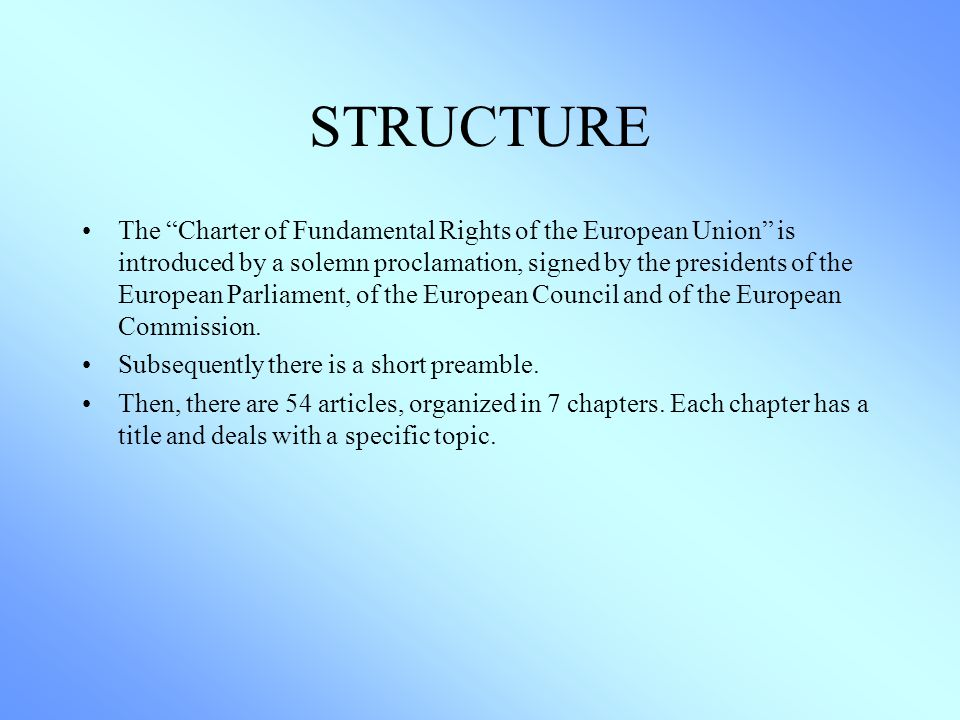 charter of fundamental rights of the The charter of fundamental rights of the european union was drafted by the eu and is interpreted by the court of justice of the european union (cjeu) the european convention on human rights, on the other hand, was drafted by the council of europe in strasbourg and is interpreted by the european court of human rights.
