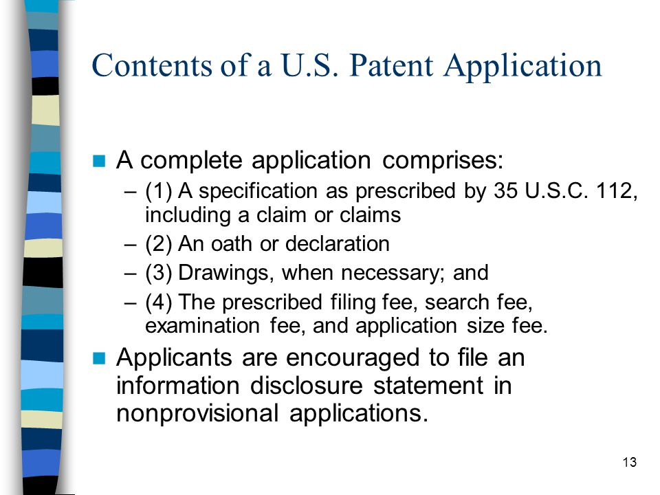 Contents of a U.S. Patent Application