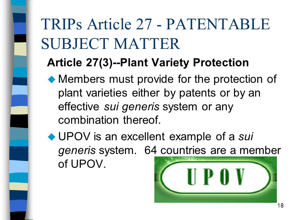 TRIPs Article 27 - PATENTABLE SUBJECT MATTER