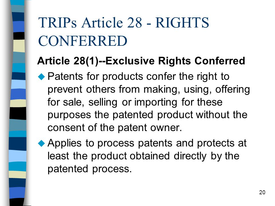 TRIPs Article 28 - RIGHTS CONFERRED