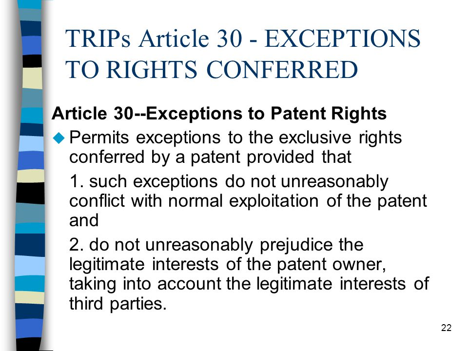 TRIPs Article 30 - EXCEPTIONS TO RIGHTS CONFERRED
