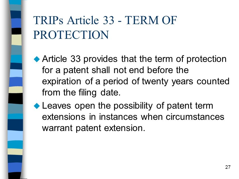 TRIPs Article 33 - TERM OF PROTECTION