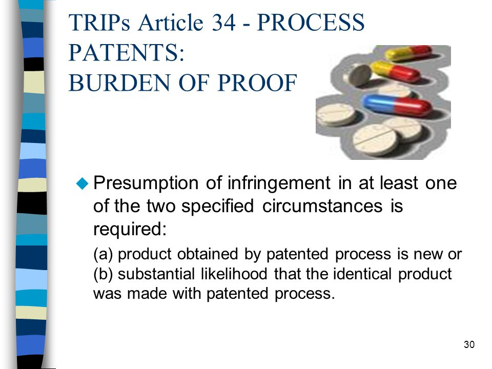 TRIPs Article 34 - PROCESS PATENTS: BURDEN OF PROOF