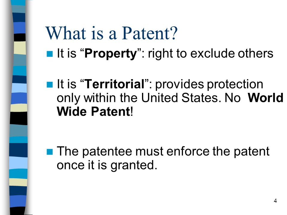 What is a Patent It is Property : right to exclude others