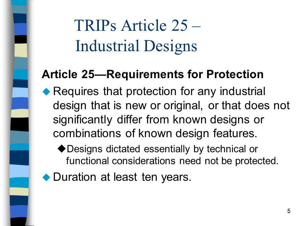 TRIPs Article 25 – Industrial Designs