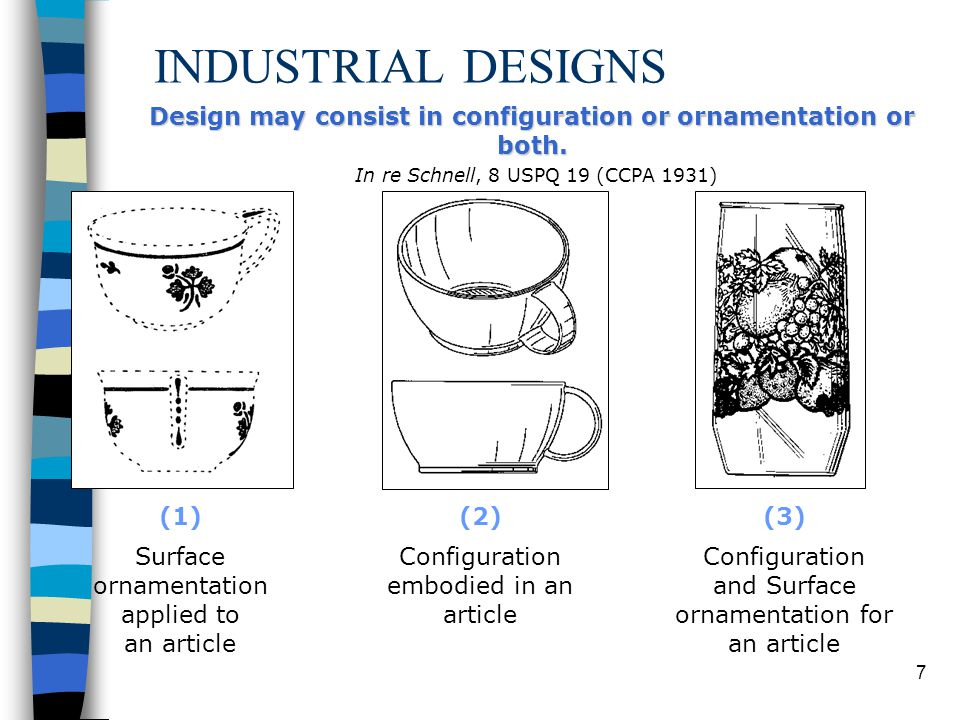 INDUSTRIAL DESIGNS Design may consist in configuration or ornamentation or both. In re Schnell, 8 USPQ 19 (CCPA 1931)