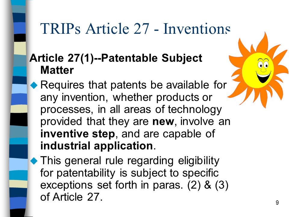 TRIPs Article 27 - Inventions