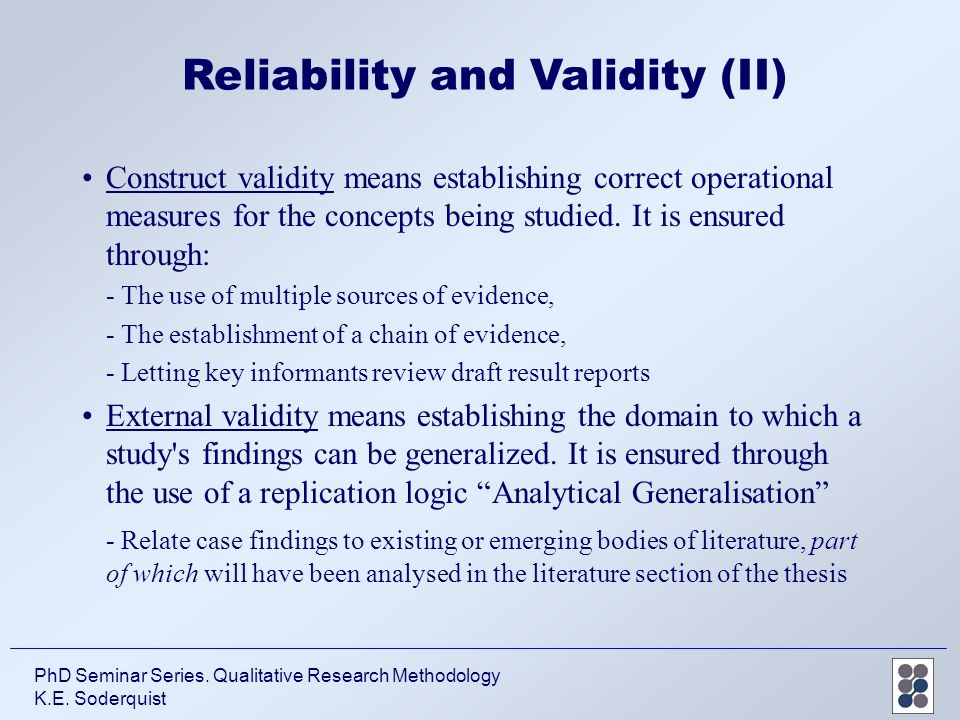 validity in research methods This unique multi-volume reference set offers readers an all-encompassing education in the ways of social science researchers written to be accessible to ge.
