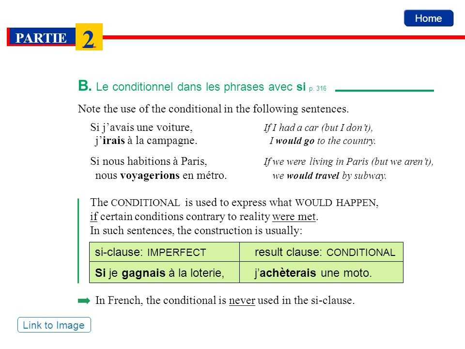 B. Le conditionnel dans les phrases avec si p. 316