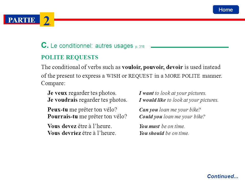 C. Le conditionnel: autres usages p. 318
