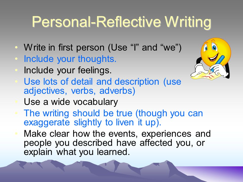is a reflective essay written in first person Genres in academic writing: reflective writing what your essay title means in reflective writing it is common to use the first person.
