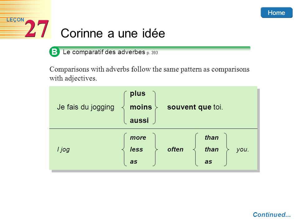 B Le comparatif des adverbes p. 393. Comparisons with adverbs follow the same pattern as comparisons with adjectives.