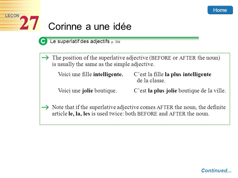 C Le superlatif des adjectifs p. 394.