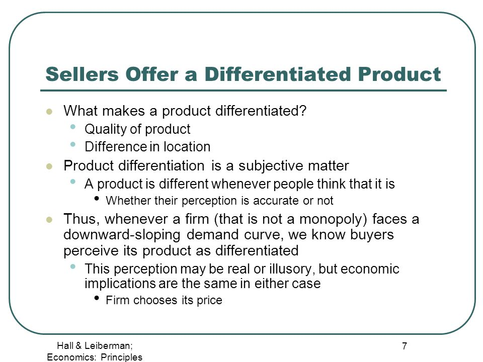 economics product differentiation in monopoly Download citation on researchgate | monopoly, product differentiation and economic welfare | this paper discusses the pricing behavior of a monopolistic producer supplying several quality.